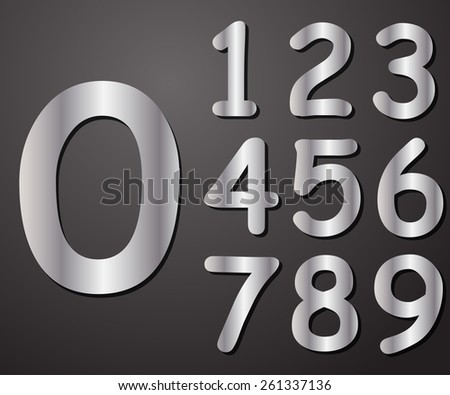 Digits in silver from 0 to 9, vector illustration