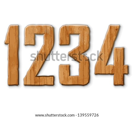 Digits made ??of wood. Vector illustration.