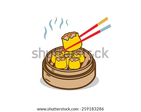 Dim sum chinese food with chopstick Vector Illustration - stock vector