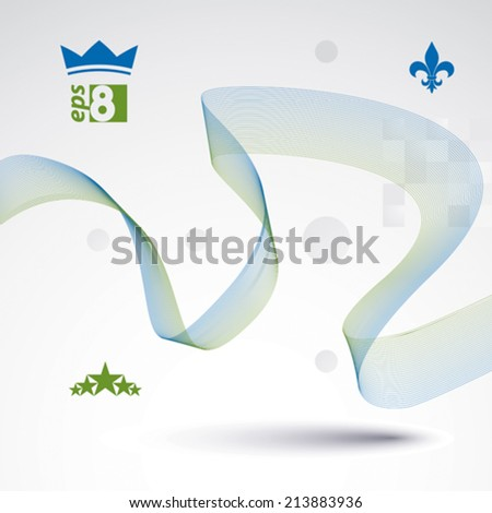 Dimensional motif elegant flowing curves, light background in motion with five stars emblem, eps8 design backdrop. - stock vector