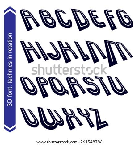 Dimensional move font, vector line retro style geometric font. - stock vector
