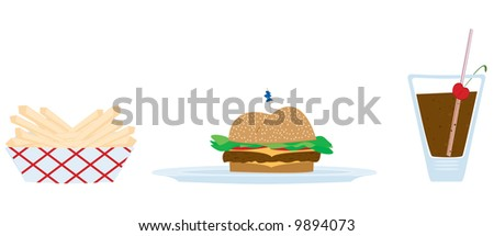 Diner food illustration. Fully editable vector. - stock vector