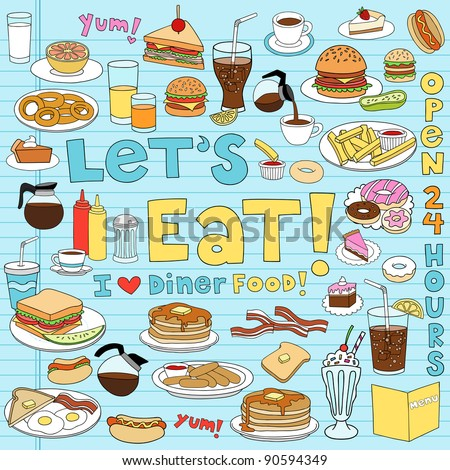 Diner Food Tasty Hand-Drawn Fast Food Notebook Doodle Design Elements Set on Lined Sketchbook Paper Background- Vector Illustration