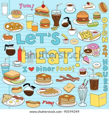 Diner Food Tasty Hand-Drawn Fast Food Notebook Doodle Design Elements Set on Lined Sketchbook Paper Background- Vector Illustration - stock vector