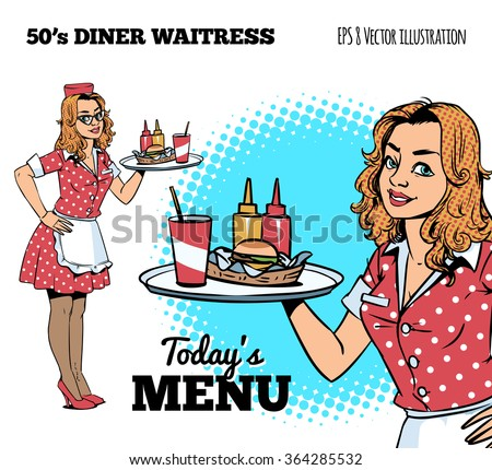 Diner waitress - stock vector