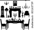 Dining Area Traditional Old Antique Furniture Interior Design - stock vector