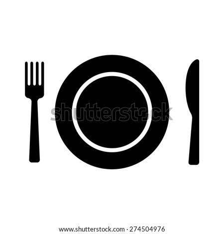 Dining flat icon with plate, fork and knife for apps and websites - stock vector