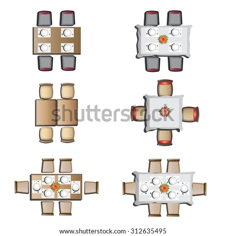 Dining Furniture Top View Set 1 Stock Vector 312635495