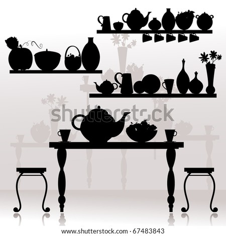 dining room - stock vector