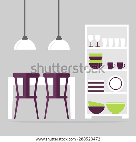 Dining room interior design. Modern kitchen furniture isolated icons: table, chairs, cupboard and lamps. White furniture on grey background. Flat style vector illustration. - stock vector