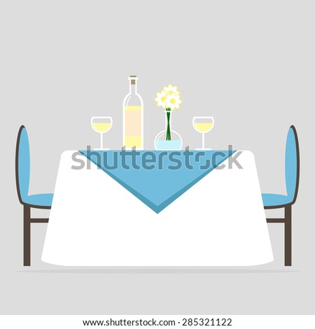 Dining room interior design. Romantic dinner for two. Table with tablecloth and two chairs. Flat style vector illustration.  - stock vector