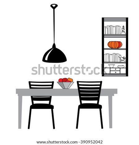 Dining Room Interior Kitchen Furniture Set Table Chairs Lamp And Cupboard