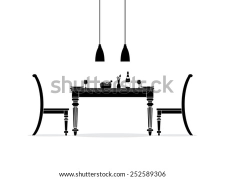 Dining room interior silhouette - stock vector