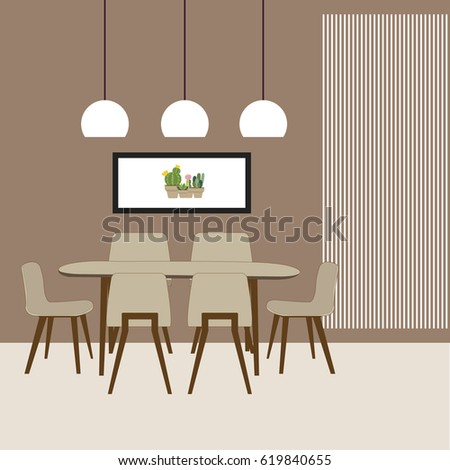 Dining Room Interior With Furniture Vector Illustration