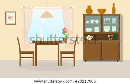 Dining Room Interior With Table Chairs And Sideboard Vector Illustration