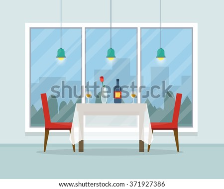 Dining table for date with glasses of wine, flowers and chairs. Flat style vector illustration. - stock vector
