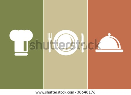Dinner & Cooking Icons: chefs hat, plate, fork, knife and casserole - stock vector