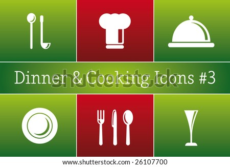 Dinner & Cooking Restaurant Vector Icon Set #3 - a set of vector Restaurant Icons - stock vector