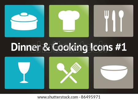 Dinner & Cooking Vector Icon Set #1 - stock vector