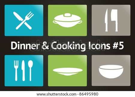 Dinner & Cooking Vector Icon Set #5 - stock vector