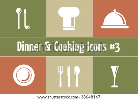 Dinner & Cooking Vector Icon Set - Italian Style - stock vector