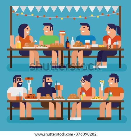 Dinner Party, Pixel Perfect Design - stock vector