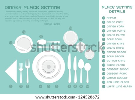 Dinner place setting, vector - stock vector