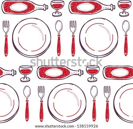 dinner seamless pattern - stock vector