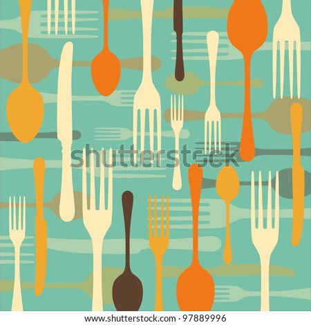 Dinnertime background with drawings of fork, knife and spoon (cutlery) in retro colours - stock vector