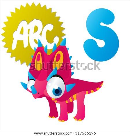 Dino Animal ABC: S is for Styracosaurus - stock vector