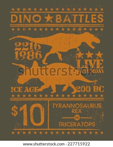Dino Battles Tshirt Silkscreen Graphic - stock vector