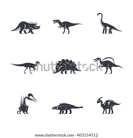 Dino icons set. Dinosaurs black silhouettes on white background. Vector illustration - stock vector
