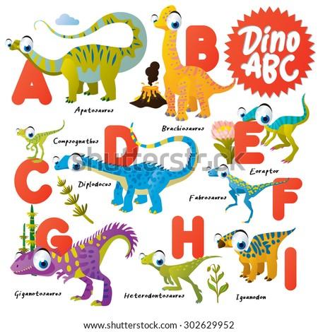 Dinosaur ABC, A to I - stock vector