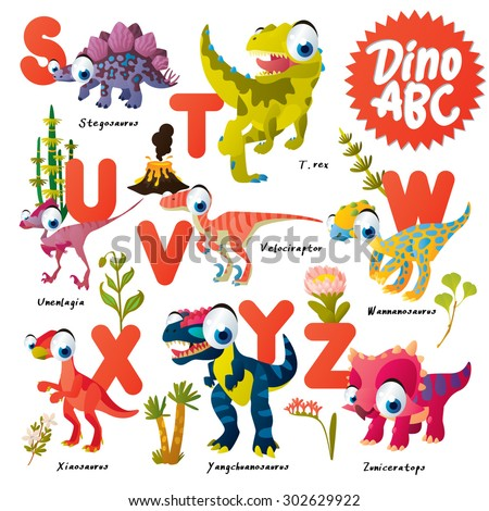 Dinosaur ABC, S to Z - stock vector