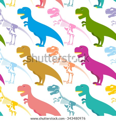 Dinosaur and skeleton seamless pattern. Tyrannosaurus t-Rex and bones background. Colorful predator. Ancient Creeper. Skeleton of an ancient monster. Texture for baby tissue. - stock vector