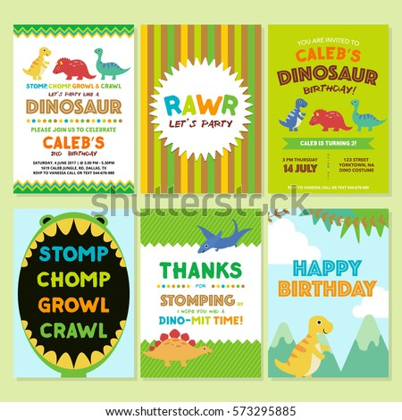 Dinosaur birthday party invitation template stock vector 573295885 dinosaur birthday party invitation template stopboris Images