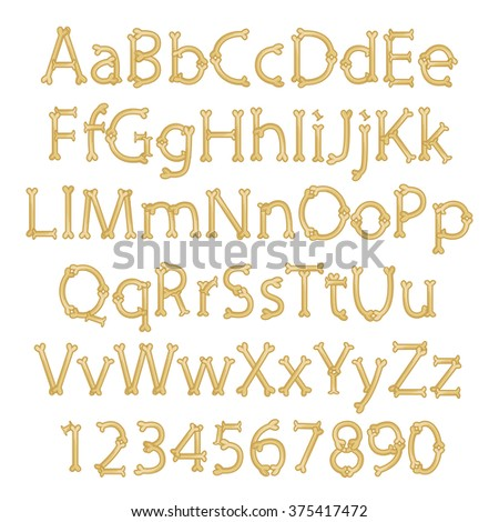 Dinosaur Bone Alphabet in Vector Format - stock vector
