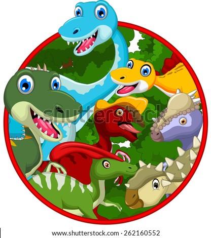 Dinosaur cartoon collection in frame  - stock vector