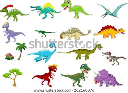 dinosaur cartoon set  - stock vector