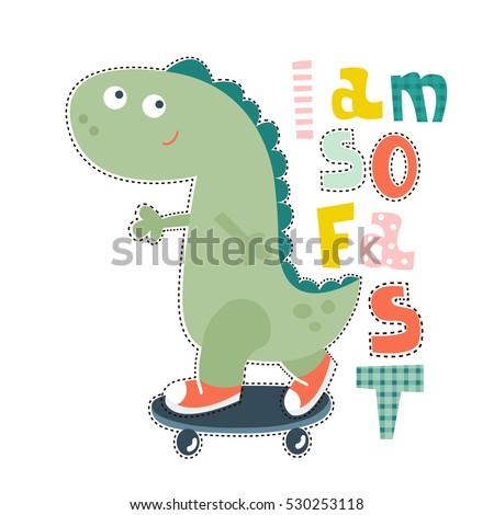 Dinosaur Character Design Baby Fashion Tshirt Stock Vector 530253118 ...