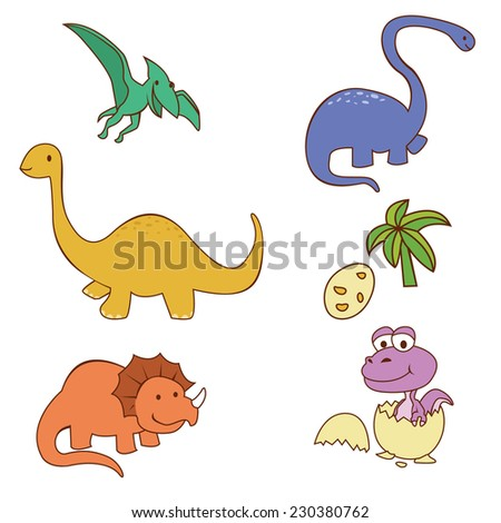 Dinosaur Cute  Object Collection  - stock vector