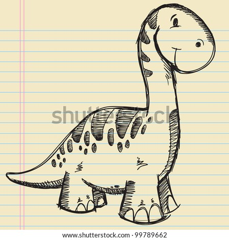 Dinosaur Doodle Sketch Vector Illustration - stock vector