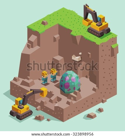 Dinosaur egg found. Isometric vector illustration - stock vector