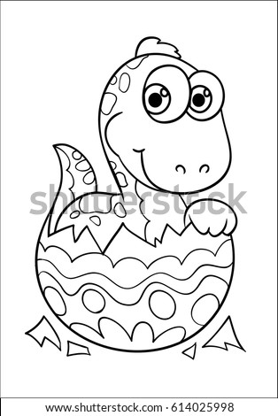 Dinosaur Easter Egg Coloring Happy Easter Stock Vector 614025998 ...