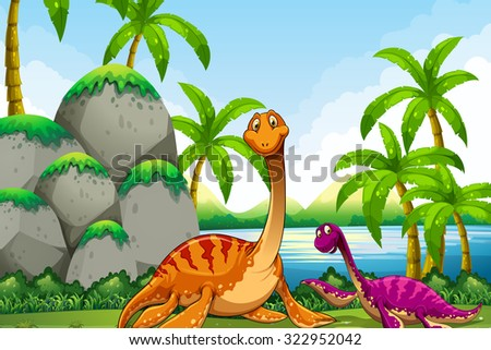 Dinosaur living in the jungle illustration - stock vector