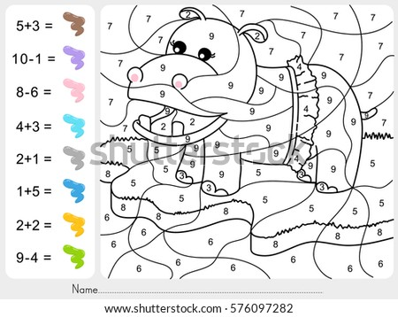 dinosaur painting color by numbers addition stock vector 576097282 shutterstock. Black Bedroom Furniture Sets. Home Design Ideas