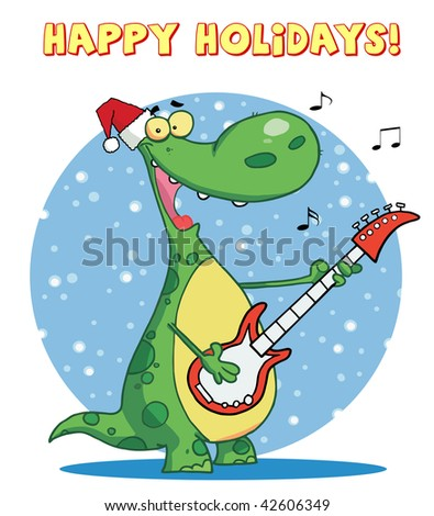 Dinosaur plays guitar with santa hat with happy holidays sign - stock vector