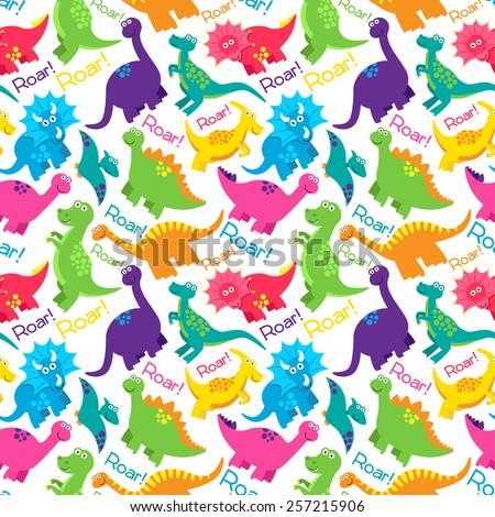 Dinosaur Seamless Tileable Vector Background Pattern  - stock vector