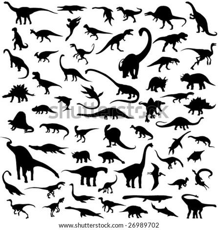 Dinosaur silhouette contour - stock vector