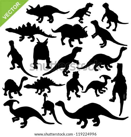 Dinosaur silhouette vector - stock vector